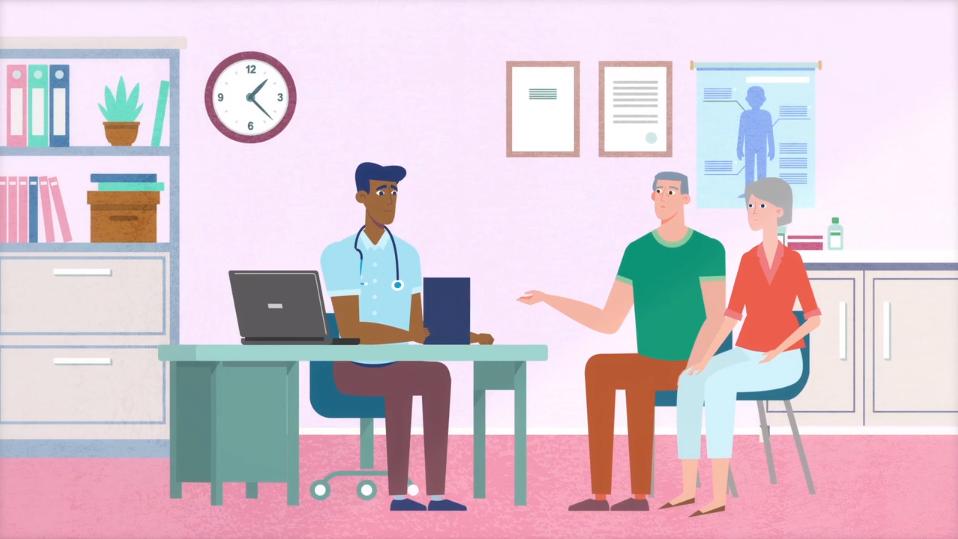 cartoon doctor and patients