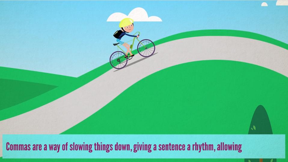 cartoon bike up hill