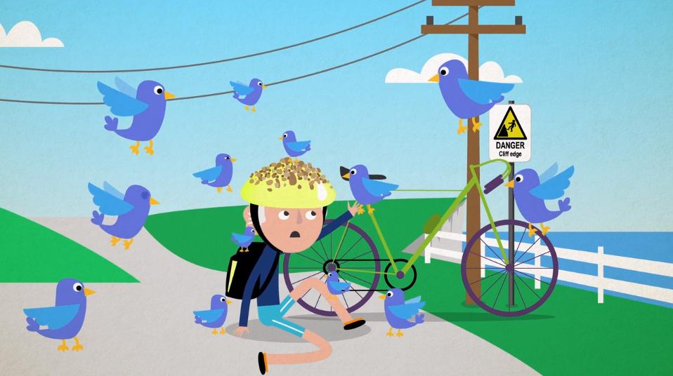 cartoon birds on man with bike